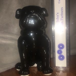 At Home Other - 8  (or 21 cm) Sitting Black Hollow Ceramic Bulldog